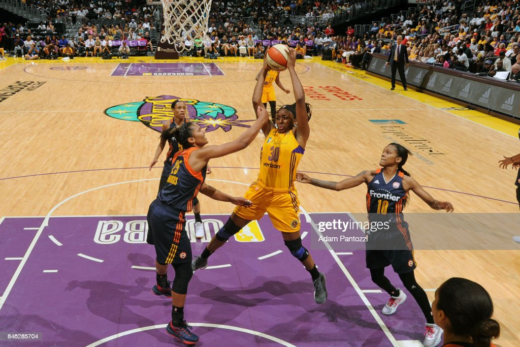 Nneka Ogwumike #30 of the Los Angeles Sparks gets the rebound during the game against the Connecticut Sun on September 3, 2017 at STAPLES Center in Los Angeles, California.