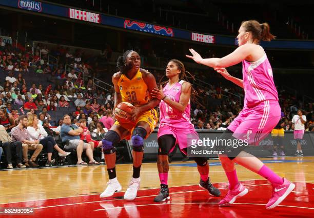 Nneka Ogwumike of the Los Angeles Sparks handles the ball against the Washington Mystics on August 16 2017 at the Verizon Center in Washington DC...