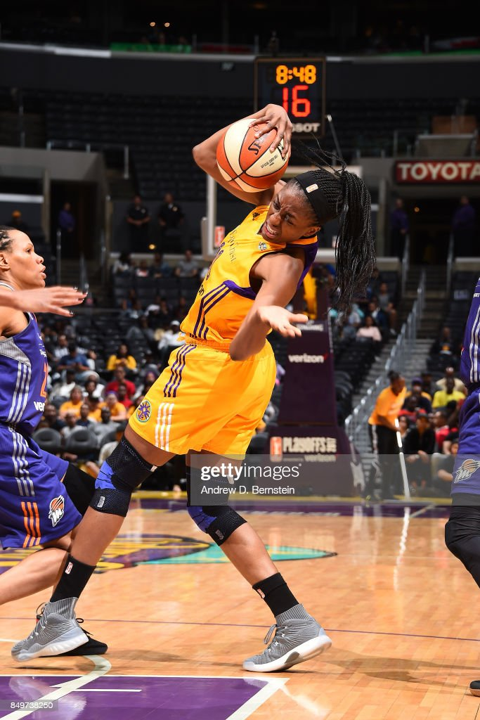 Nneka Ogwumike #30 of the Los Angeles Sparks handles the ball against the Phoenix Mercury in Game One of the Semifinals during the 2017 WNBA Playoffs on September 12, 2017 at STAPLES Center in Los Angeles, California.