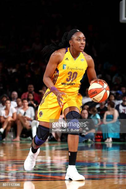 Nneka Ogwumike of the Los Angeles Sparks handles the ball during the game against the New York Liberty during a WNBA game at Madison Square Garden in...