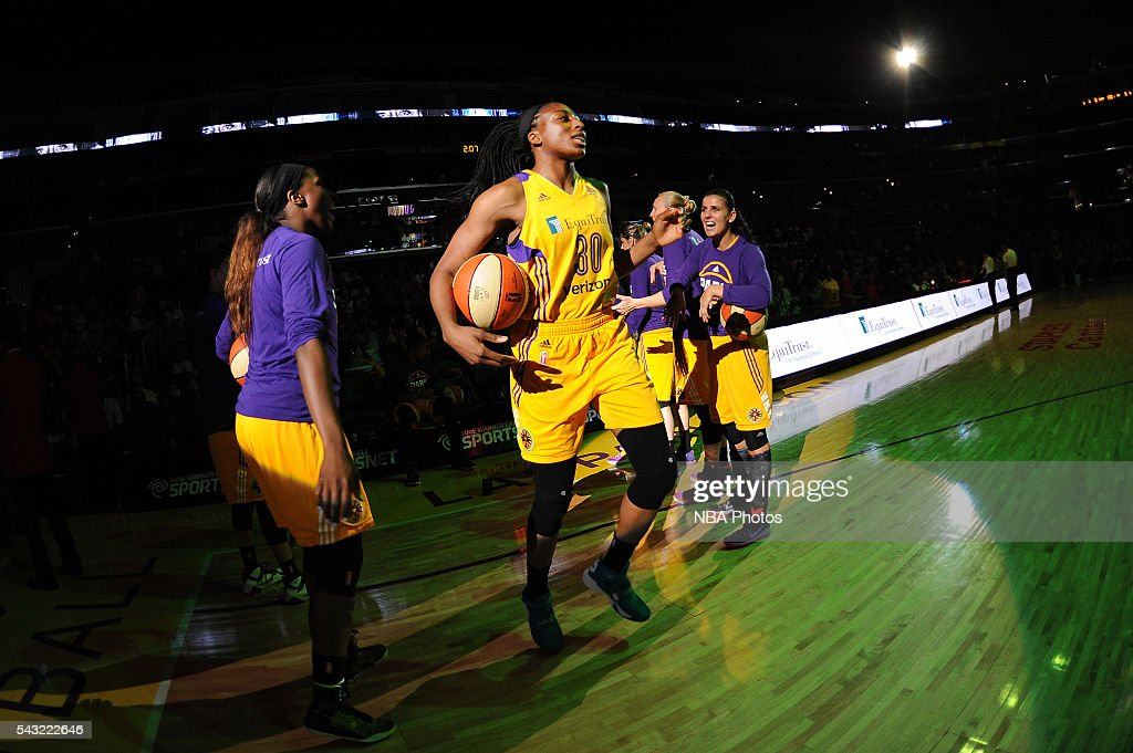 <a gi-track='captionPersonalityLinkClicked' href=/galleries/search?phrase=Nneka+Ogwumike&family=editorial&specificpeople=7950576 ng-click='$event.stopPropagation()'>Nneka Ogwumike</a> #30 of the Los Angeles Sparks is introduced before the game against the Connecticut Sun on June 26, 2016 at STAPLES Center in Los Angeles, California.