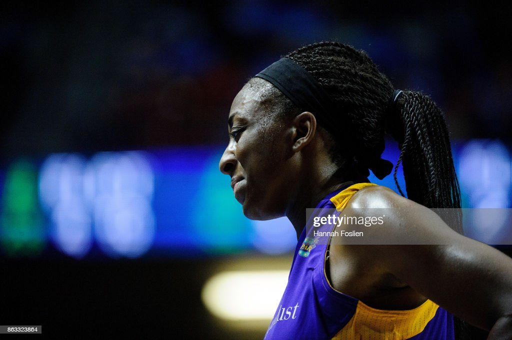 Nneka Ogwumike #30 of the Los Angeles Sparks looks on during the fourth quarter of Game Two of the WNBA Finals against the Minnesota Lynx on September 26, 2017 at Williams in Minneapolis, Minnesota. The Lynx defeated the Sparks 70-68.