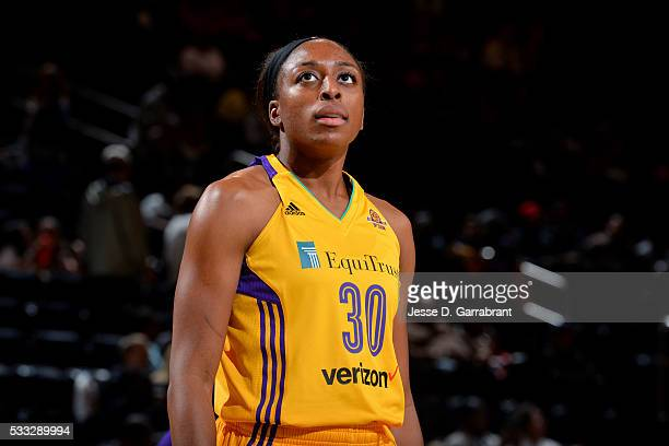Nneka Ogwumike of the Los Angeles Sparks looks on during the game against the New York Liberty on May 21 2016 at Madison Square Garden in New York...