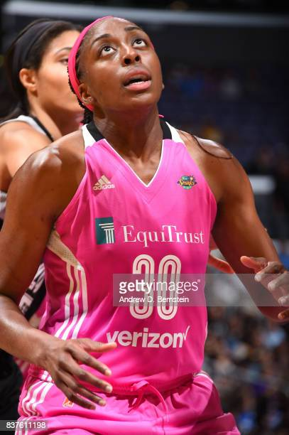 Nneka Ogwumike of the Los Angeles Sparks looks on during the game against the San Antonio Stars on August 22 2017 at the STAPLES Center in Los...