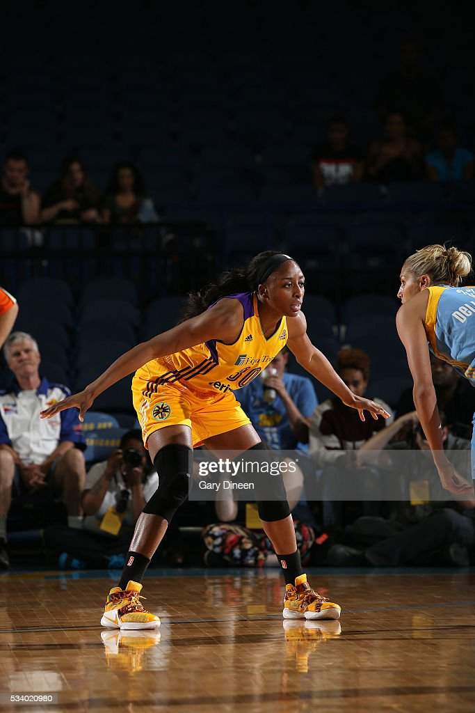<a gi-track='captionPersonalityLinkClicked' href=/galleries/search?phrase=Nneka+Ogwumike&family=editorial&specificpeople=7950576 ng-click='$event.stopPropagation()'>Nneka Ogwumike</a> #30 of the Los Angeles Sparks plays defense against <a gi-track='captionPersonalityLinkClicked' href=/galleries/search?phrase=Elena+Delle+Donne&family=editorial&specificpeople=5042380 ng-click='$event.stopPropagation()'>Elena Delle Donne</a> #11 of the Chicago Sky during the game on May 24, 2016 at the Allstate Arena in Chicago, Illinois.