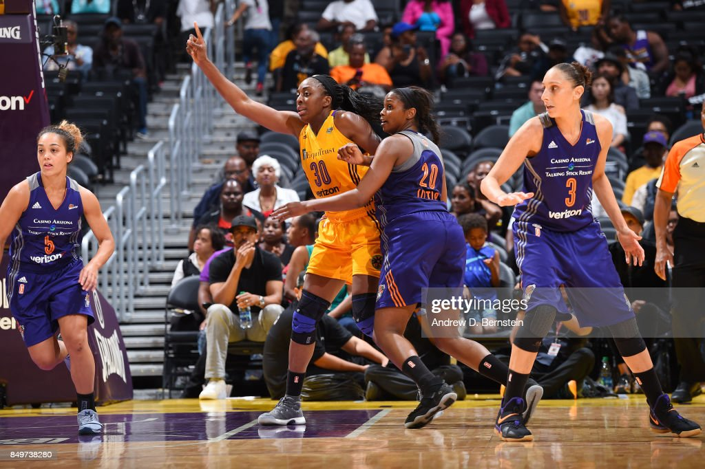 Nneka Ogwumike #30 of the Los Angeles Sparks plays defense against Camille Little #20 of the Phoenix Mercury in Game One of the Semifinals during the 2017 WNBA Playoffs on September 12, 2017 at STAPLES Center in Los Angeles, California.