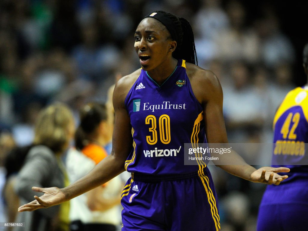 Nneka Ogwumike #30 of the Los Angeles Sparks reacts after fouling out of Game Five of the WNBA Finals against the Minnesota Lynx on October 4, 2017 at Williams in Minneapolis, Minnesota. The Lynx defeated the Sparks 85-76 to win the championship.