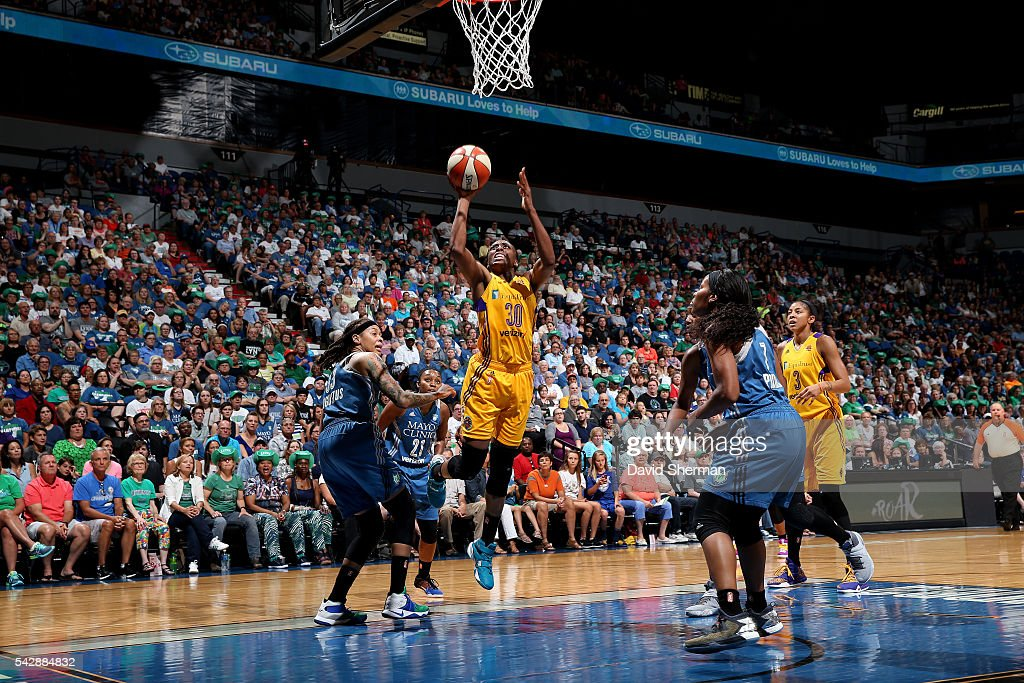 Nneka Ogwumike #30 of the Los Angeles Sparks shoots a lay up during the game against the Minnesota Lynx during the WNBA game on June 24, 2016 at Target Center in Minneapolis, Minnesota.