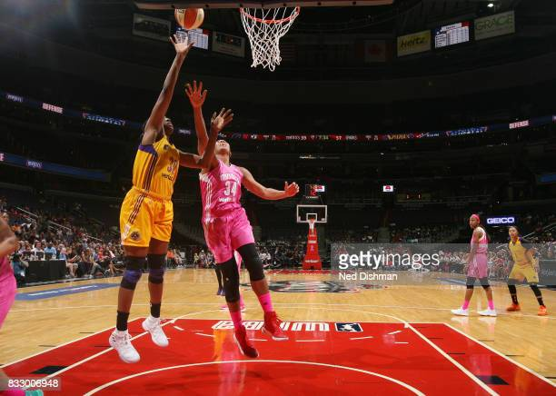 Nneka Ogwumike of the Los Angeles Sparks shoots the ball against the Washington Mystics on August 16 2017 at the Verizon Center in Washington DC NOTE...