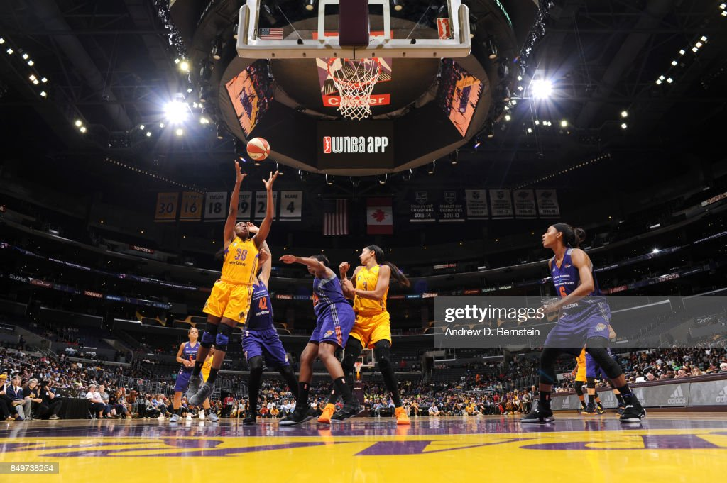 Nneka Ogwumike #30 of the Los Angeles Sparks shoots the ball against the Phoenix Mercury in Game One of the Semifinals during the 2017 WNBA Playoffs on September 12, 2017 at STAPLES Center in Los Angeles, California.