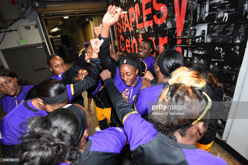 Nneka Ogwumike #30 of the Los Angeles Sparks with teammates huddle before the game against the Phoenix Mercury in Game One of the Semifinals during the 2017 WNBA Playoffs on September 12, 2017 at STAPLES Center in Los Angeles, California.