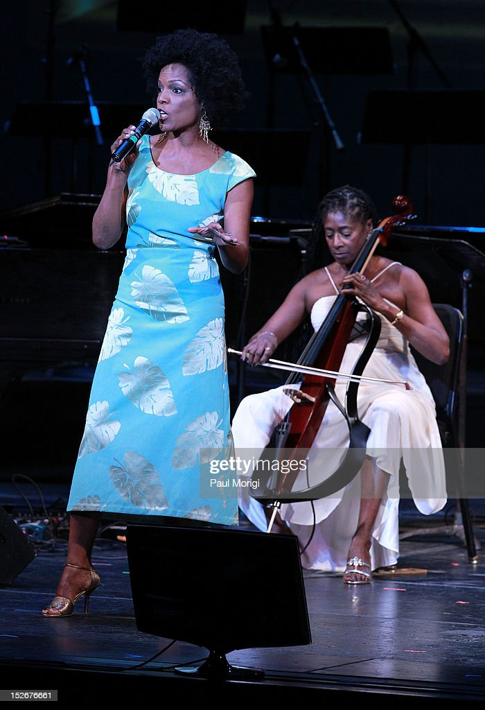 Nnenna Freelon (L) and Akua Dixon perform at the Thelonious Monk International Jazz Drums Competition and Gala Concert at The Kennedy Center on September 23, 2012 in Washington, DC.