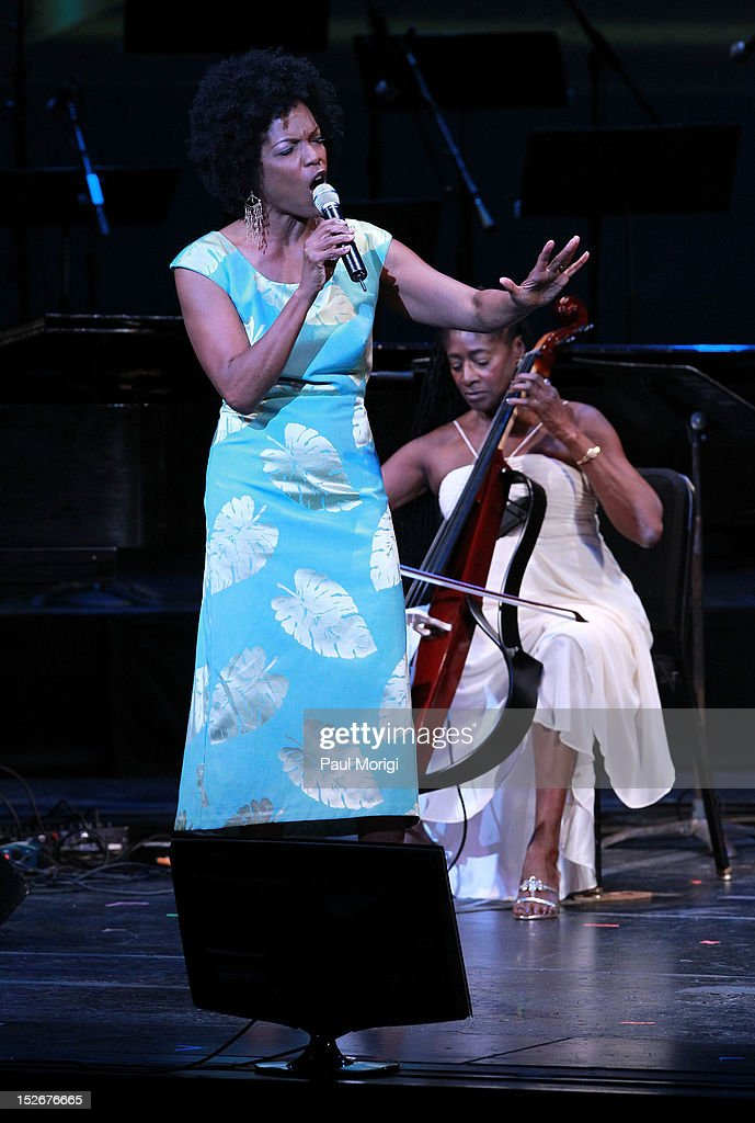 Nnenna Freelon and Akua Dixon perform at the Thelonious Monk International Jazz Drums Competition and Gala Concert at The Kennedy Center on September...