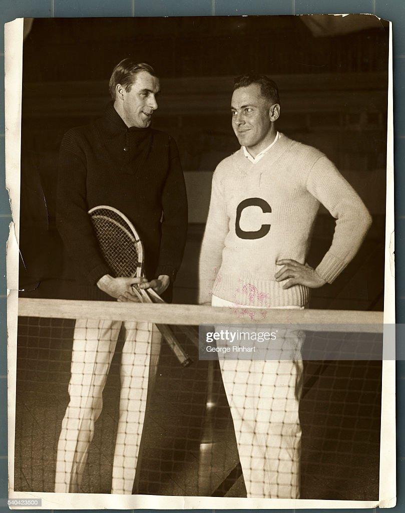 Bill Tilden and Francis Hunter Standing Near a Tennis Net