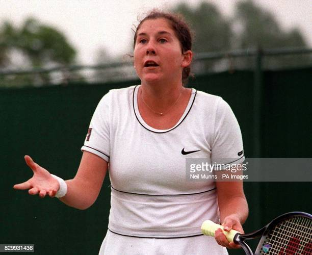 No 2 seed Monica Seles questions a line call during her third round match against France's Sandrine Testud on No 3 Court this afternoon Testud won...