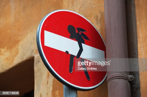 No access street sign with an angel, in Rome