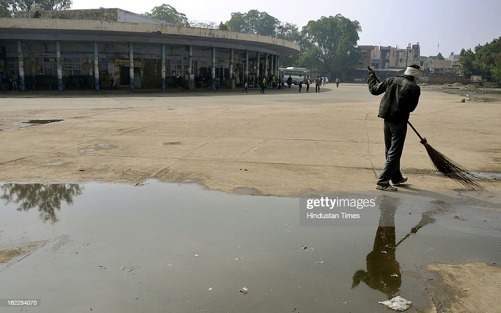 No bus at bus stand during two day-nation-wide strike called by Trade unions at Mahavir chowk on February 21, 2013 in Gurgaon, India.