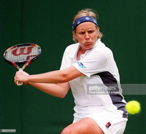 No commercial use British player Julie Pullin during her first round match against Sandrine Testud from France on the first day of the Wimbledon...