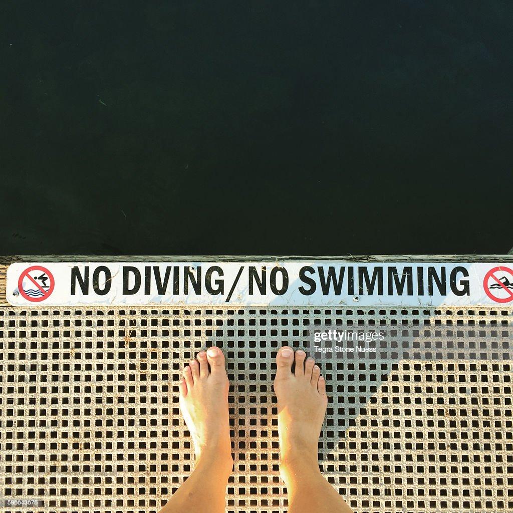 No Diving/No Swimming : Stock Photo