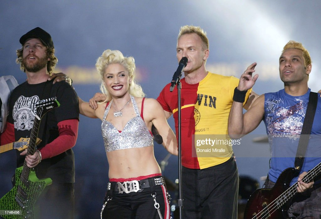 No Doubt and Sting perform during halftime of Super Bowl XXXVII between the Tampa Bay Buccaneers and the Oakland Raiders on January 26, 2003 at Qualcomm Stadium in San Diego, California. The Bucs beat the Raiders 48-21.