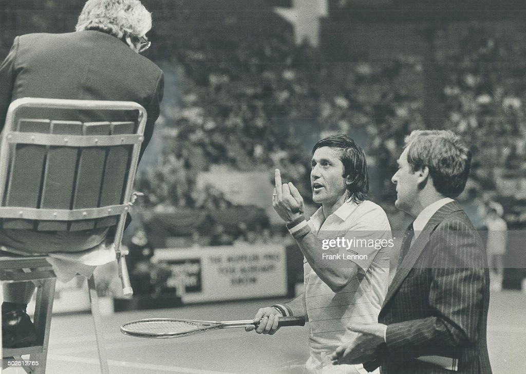 Ilie Nastase had a lot of problems at Gardens last night and not just from his tennis opponent; John McEnroe. When he debated a line call by umpire Karl Allison; Nastase used profanity and finger gestures. He denied using meaningful digit in gesturing; but picture on right proves he did. He did; on occasion; use only his litle finger; left; as he claimed. He refused to stop and fefaulted match to McEnroe; who won; 6-1; 2-0.