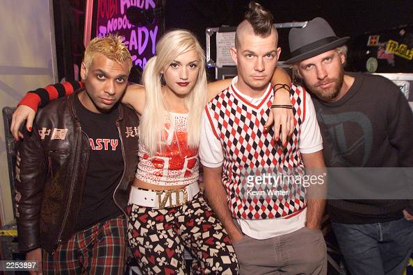 No Doubt Tony Kanal Gwen Stefani Adrian Young and Tom Dumont backstage at the Wadsworth Theater before a taping of ABC Family's 'Front Row Center' in...