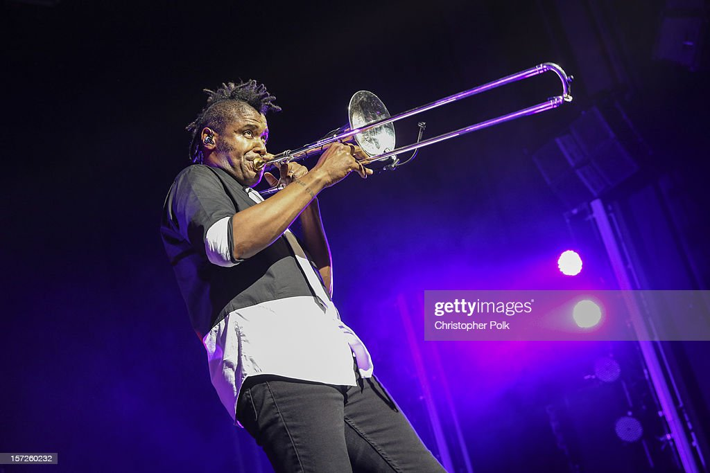 No Doubt's Gabrial McNair performs at Gibson Amphitheatre on November 30, 2012 in Universal City, California.