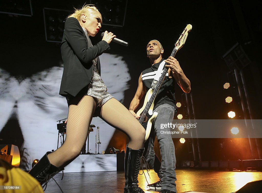 No Doubt's Gwen Stefani and Tony Kanal perform at Gibson Amphitheatre on November 30, 2012 in Universal City, California.