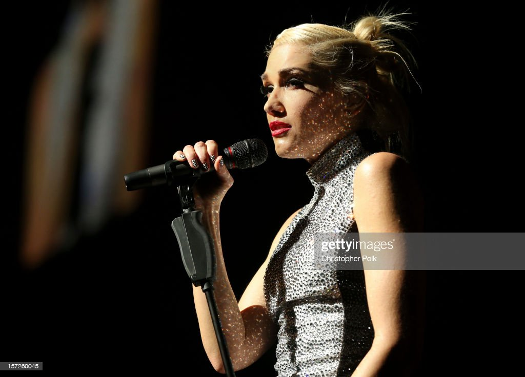 No Doubt's <a gi-track='captionPersonalityLinkClicked' href=/galleries/search?phrase=Gwen+Stefani&family=editorial&specificpeople=156423 ng-click='$event.stopPropagation()'>Gwen Stefani</a> performs at Gibson Amphitheatre on November 30, 2012 in Universal City, California.