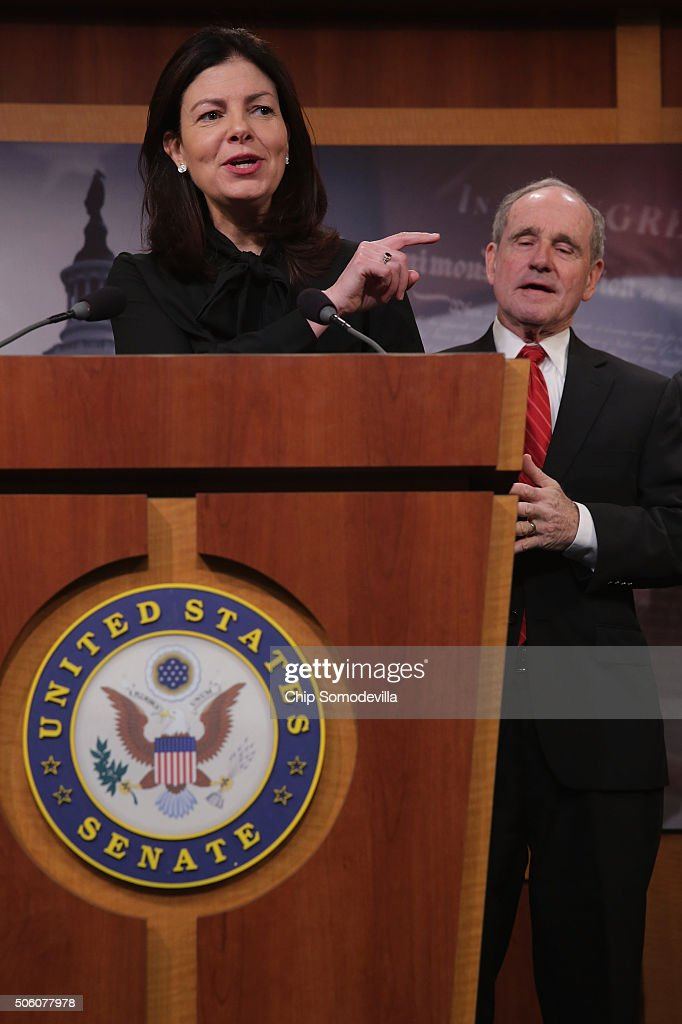 'No duh!' says Sen. <a gi-track='captionPersonalityLinkClicked' href=/galleries/search?phrase=Kelly+Ayotte&family=editorial&specificpeople=6986995 ng-click='$event.stopPropagation()'>Kelly Ayotte</a> (R-NH) (L) about Secretary of State John Kerry's remarks about Iran possibly using money from the sale of oil to fund terrorism during a news conference with Sen. James Risch (R-ID) and other Republicans at the U.S. Capitol January 21, 2016 in Washington, DC. With Ayotte in the lead, the Republican senators said they would work to introduce legislation that would impose new economic sanctions against Iran.