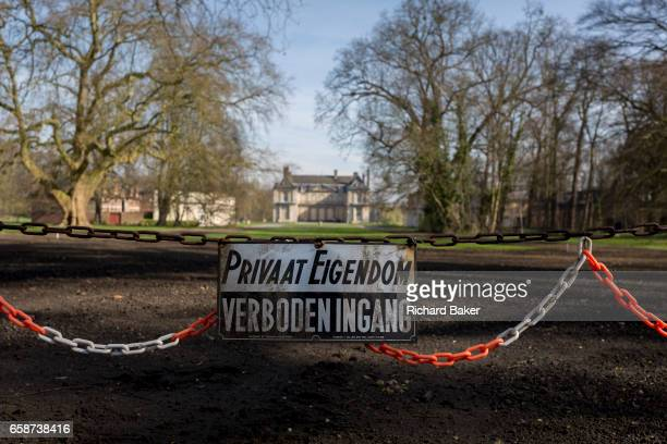 No entry sign at the entrance of the privatelyowned de Merode Castle out of bounds for locals on 25th March in Everberg Brabant Belgium de Merode...