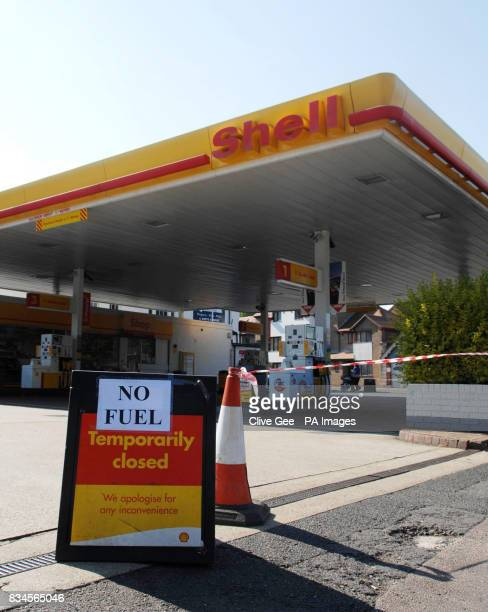 A no fuel sign outside a Shell petrol station in Brighton East Sussex