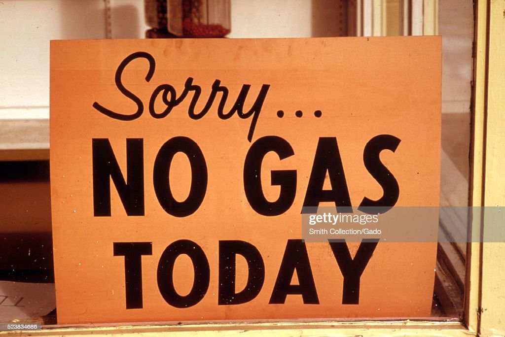 'No gas' signs were a common sight in Oregon during the fall of 1973 such as at this station in Lincoln city along the coast Many stations closed...