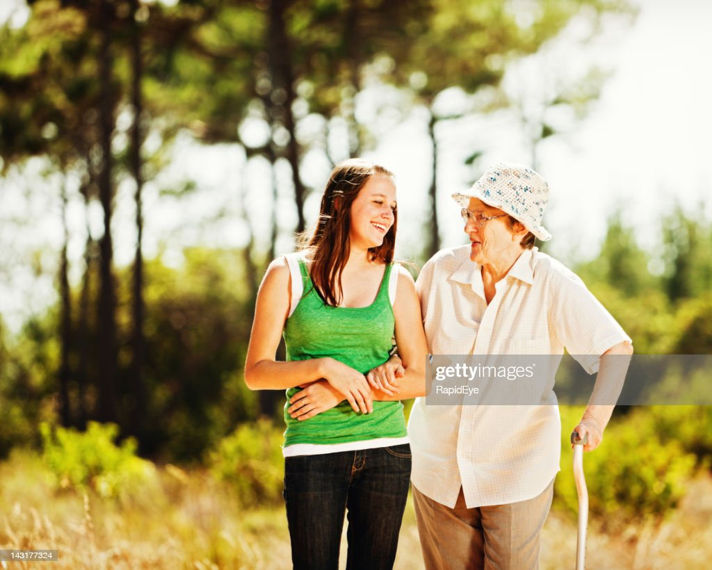 No generation gap here: granny and granddaughter laugh together : Stock Photo
