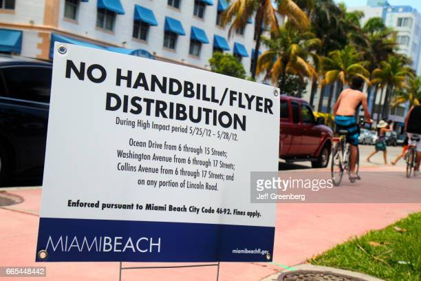 A no handbill flyer distribution sign on Ocean Drive