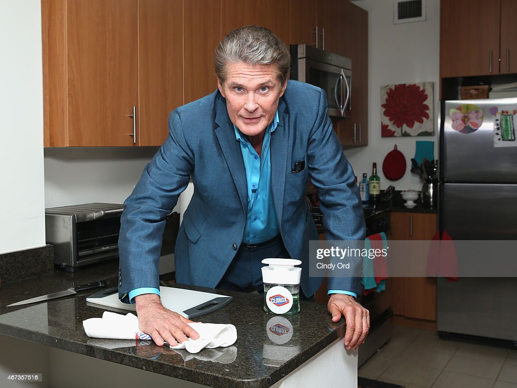 No hassles when you clean like The Hoff! <a gi-track='captionPersonalityLinkClicked' href=/galleries/search?phrase=David+Hasselhoff&family=editorial&specificpeople=209380 ng-click='$event.stopPropagation()'>David Hasselhoff</a> shows New Yorkers how easy it is to clean with Clorox's new products and Homejoy cleaning service on Wednesday, March 23, 2015 in New York City.