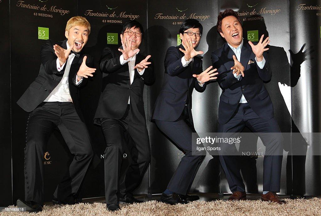 No Hong-Chul, Jung Hyung-Don, Yoo Jae-Seok, and Jung Jun-Ha attend HaHa and Byul's wedding at 63 Building convention center on November 30, 2012 in Seoul, South Korea.