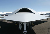Boeing X-45A UCAV (Unmanned Combat Aerial Vehicle) on display in an air show, Dayton, Ohio, USA.