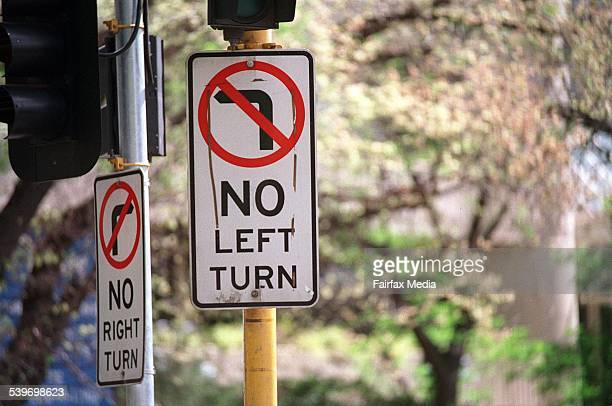 A 'No Left Turn' sign 9 October 2000 AFR Picture by JESSICA SHAPIRO