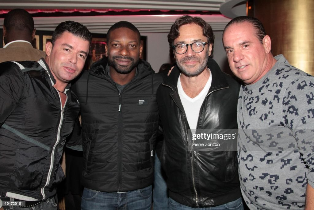No Mercy Marty Cintron, DJ Irie and Jazz Musician Al Di Meola & South Beach Promoter Tommy Pooch at Dore Restaurant and Lounge on March 27, 2013 in Miami Beach, Florida.
