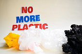 No more plastic message. It shows a plastic with motto and selective focus no more plastic text.