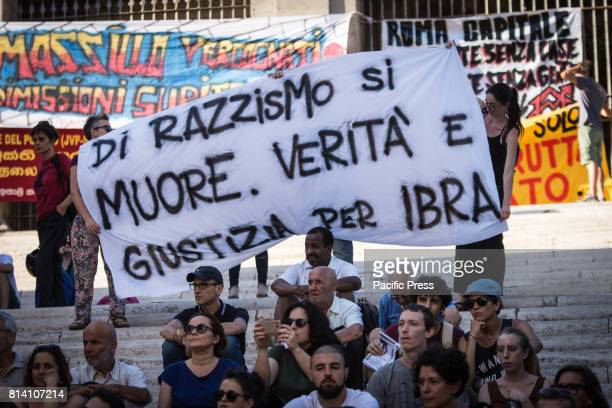'No one is illegal' demonstration in Campidoglio against mayor of Rome Virginia Raggi policies to say that the problems of Rome are not migrants