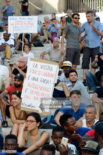 No one is illegal demonstration in Campidoglio against Virginia Raggi policies to say that the problems of Rome are not migrants on July 13 2017 in...