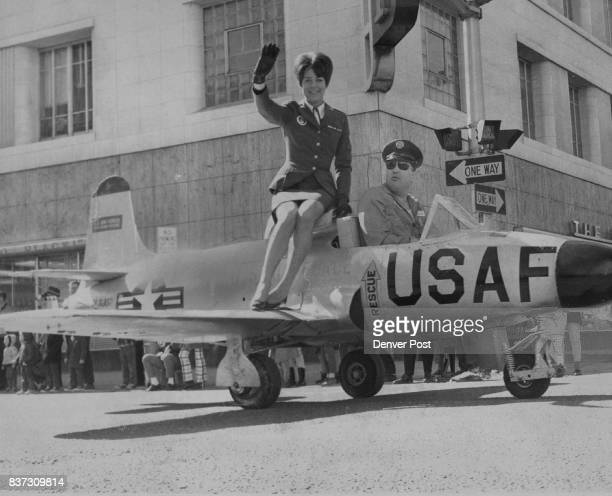 No one seemed to care if she was Irish or not but this pretty WAF attracted a lot of attention as she rode the jet model for Lowry Air Force Base...
