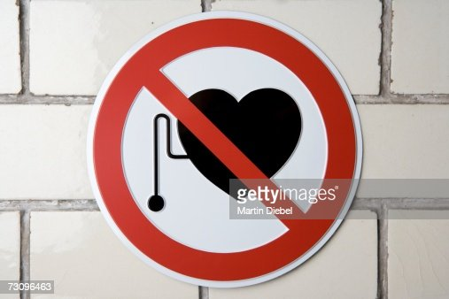 No pacemakers' sign : Stock Photo
