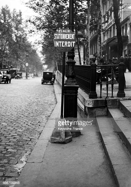 'No parking' sign in October 1929 in Paris France