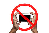 No phone or taking a photo not allow, sign, isolated on white background
