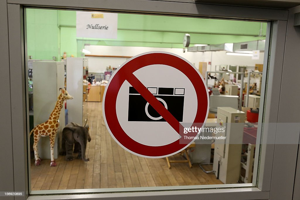 A 'No Photography' sign is displayed on a window inside the Steiff stuffed toy factory on November 23, 2012 in Giengen an der Brenz, Germany. Founded by seamstress Margarethe Steiff in 1880, Steiff has been making stuffed teddy bears since the early 20th century ever since her nephew Richard Steiff exhibited the first commercially produced teddy bear in Europe in 1903. Teddy bears are among the most popular children's toys and the company is hoping for a strong Christmas season.