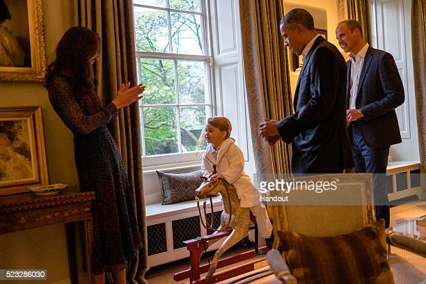 No Sales no commercial use whatsoever of the photographs In this handout provided by Kensington Palace President Barack Obama talks with the Prince...