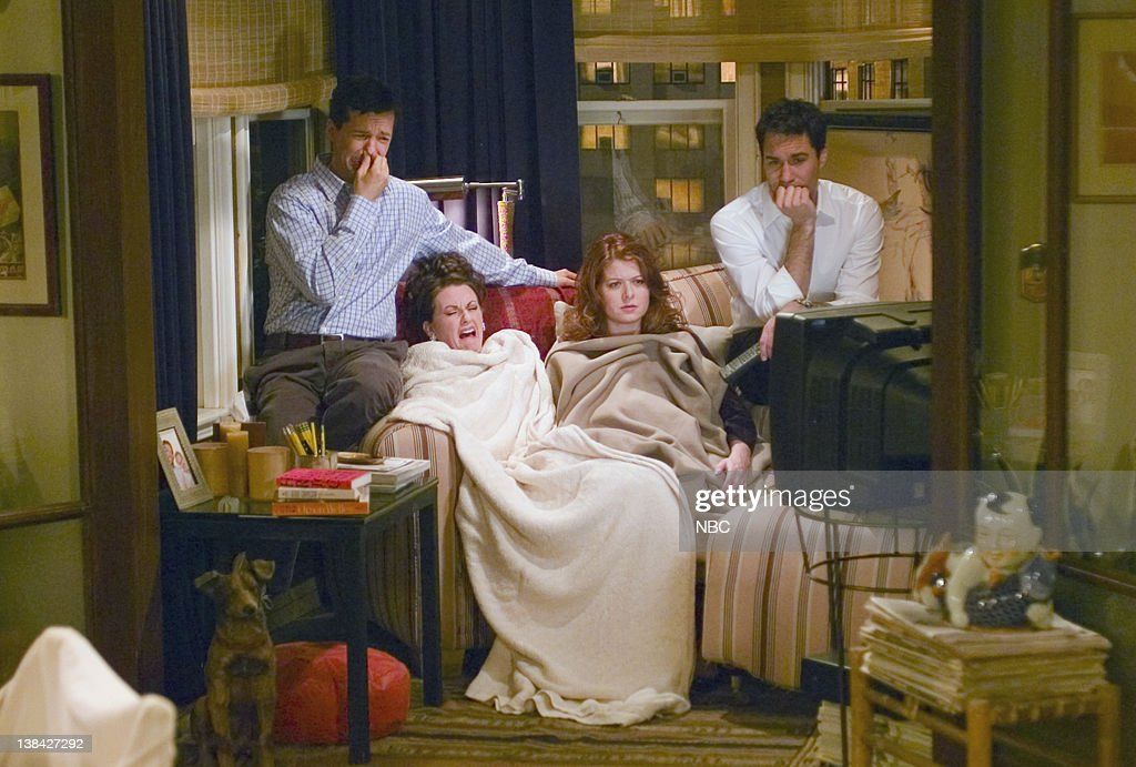 WILL & GRACE -- 'No Sex 'N' the City' Episode 19 -- Aired 3/25/04 -- Pictured: (l-r) Sean Hayes as Jack McFarland, Megan Mullally as Karen Walker, Debra Messing as Grace Adler, Eric McCormack as Will Truman
